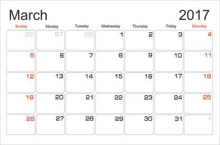 scheduler: Vector planning calendar March 2017 Monthly scheduler. Week starts on Sunday. Illustration