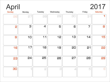 scheduler: Vector planning calendar April 2017 Monthly scheduler. Week starts on Sunday. Illustration