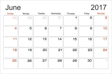 scheduler: Vector planning calendar June 2017 Monthly scheduler. Week starts on Sunday. Illustration