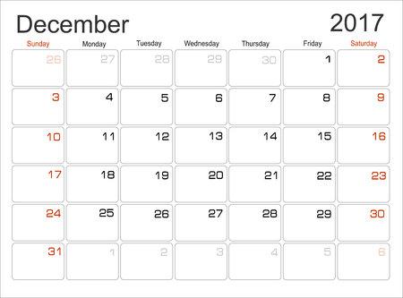 in december: Vector planning calendar December 2017 Illustration