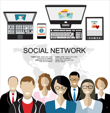 business group: Global social network abstract scheme.