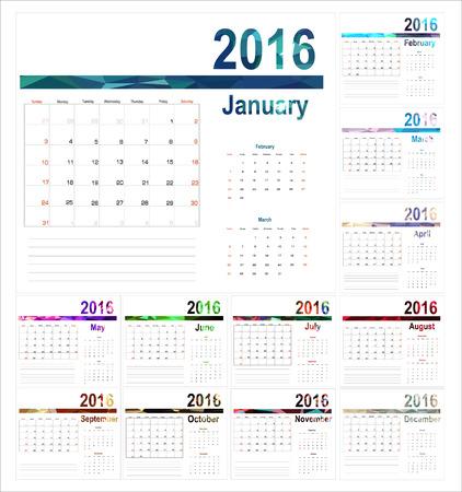 meses del año: Planificador de Calendario para el 2016 Año. Vector de papelería Diseño de impresión Template.Week comienza el domingo. 12 meses