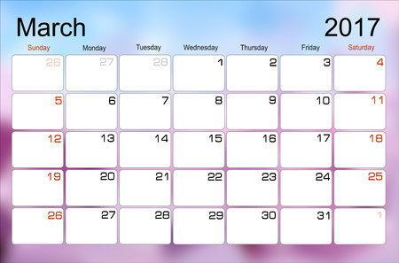 scheduler: Vector planning calendar March 2017 Monthly scheduler. Week starts on Sunday. Illustration