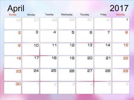 scheduler: Vector planning calendar April 2017 Monthly scheduler. Week starts on Sunday. Illustration