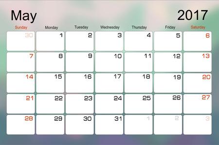 scheduler: Vector planning calendar May 2017 Monthly scheduler. Week starts on Sunday.