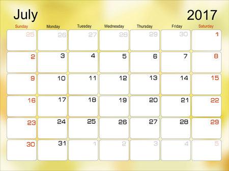 scheduler: Vector planning calendar July 2017 Monthly scheduler. Week starts on Sunday.