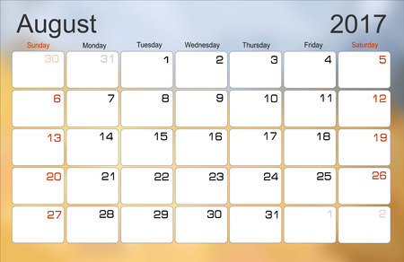scheduler: Vector planning calendar August 2017 Monthly scheduler. Week starts on Sunday.