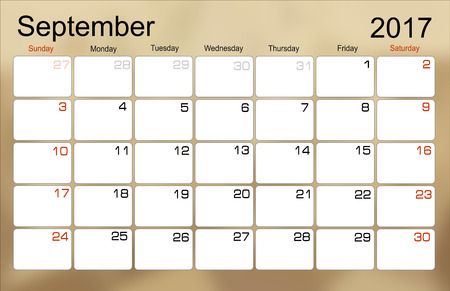 scheduler: Vector planning calendar September 2017 Monthly scheduler. Week starts on Sunday.