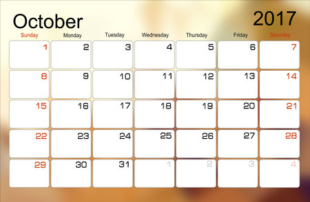 scheduler: Vector planning calendar October 2017 Monthly scheduler. Week starts on Sunday. Illustration