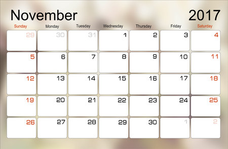scheduler: Vector planning calendar November 2017 Monthly scheduler. Week starts on Sunday. Illustration