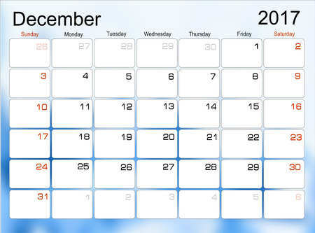 scheduler: Vector planning calendar December 2017 Monthly scheduler. Week starts on Sunday.