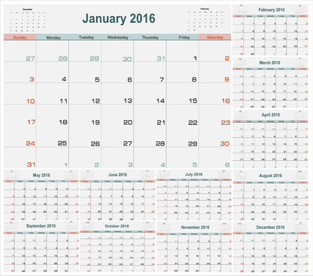 months of the year: Calendar Planner for 2016 Year. Vector Stationery Design Print Template.Week Starts Sunday. 12 Months