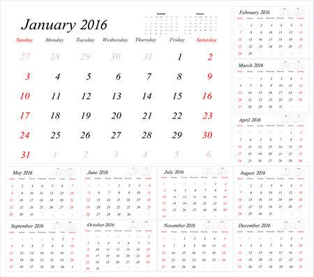 planner: Calendar Planner for 2016 Year. Vector Stationery Design Print Template.Week Starts Sunday. 12 Months