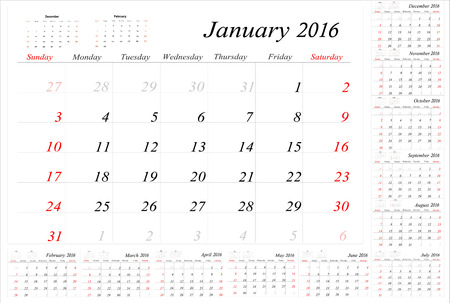 meses del a�o: Calendar Planner for 2016 Year. Vector Stationery Design Print Template.Week Starts Sunday. 12 Months