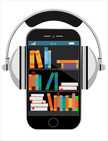 Bibliothèque numérique en ligne sur smart-phone. Enseignement à distance avec la technologie moderne plat illustration. Concept de design plat. Illustration vectorielle