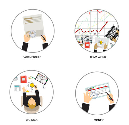 business work: Flat design illustration concepts for business analysis and planning, consulting, team work, project management, partnership, big idea. Concepts web banner and printed materials.
