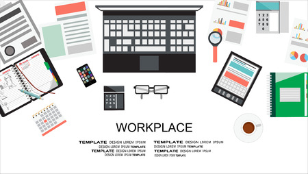 Workplace concept.Collection of Business Work Flow Items and Elements, Office Things, Objects and Equipment for Workplace Design. Flat design, vector Illustration