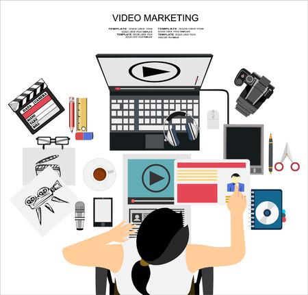 web marketing: Flat design illustration concept for digital marketing. Concept for web banner and promotional material.