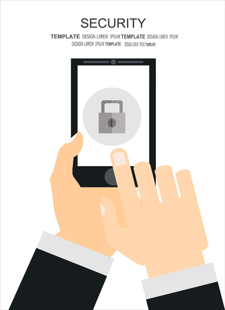 infographics touchscreen: Smartphone lock screen. Hand hold smartphone, finger touch touchscreen. Modern concept for web banners, web sites, printed materials, infographics.