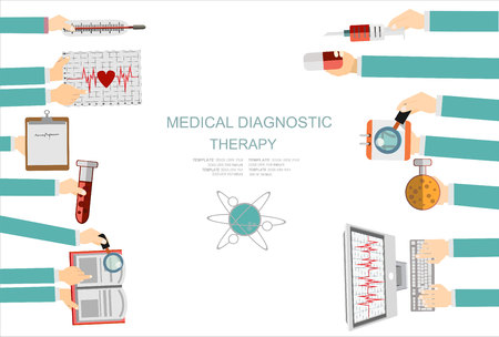 clinical laboratory: Vector illustration. Flat medical concept background. Healthcare and health protection. Clinical laboratory. First aid and diagnostic.