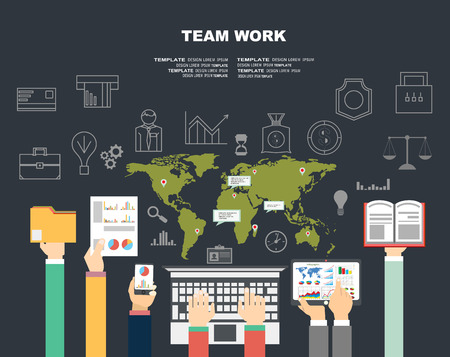 printed work: Set of flat design illustration concepts for business, finance, consulting, management, team work, analysis, strategy and planning, startup. Concepts for web banner and printed materials. Illustration