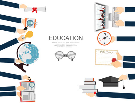 back view student: Vector education concept - icons and illustrations in flat style