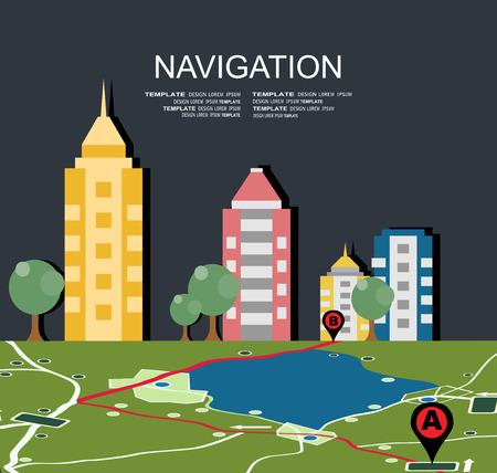 gps navigator: GPS navigator vector. Modern flat design vector illustration.