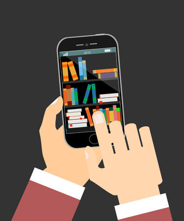 e store: Human hand chooses e Books in the Internet books store in smartphone, digital library conceptual vector illustration.