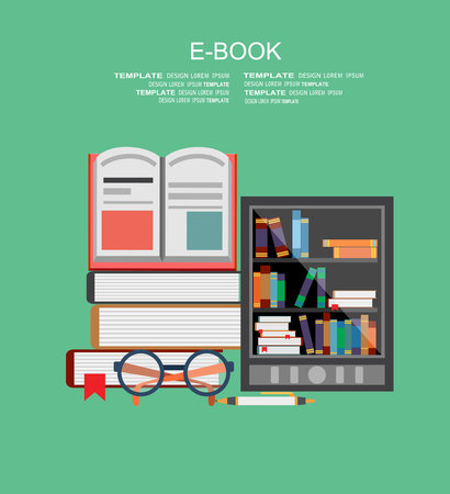 e book device: Vector illustration. Flat tablet. Virtual library. Illustration