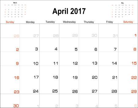 planning calendar: Vector planning calendar April 2017