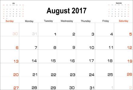 august: Vector planning calendar August 2017