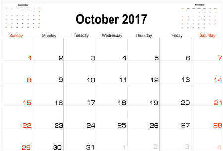 calendar october: Vector planning calendar October 2017 Illustration