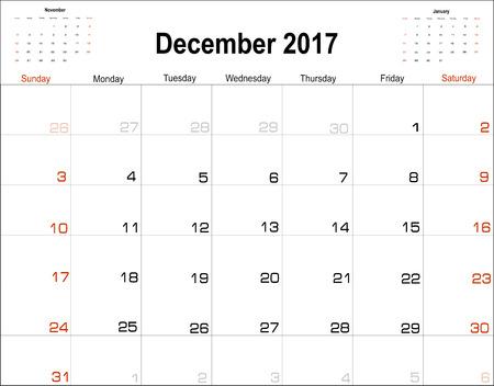 diciembre: calendario de planificaci�n del vector de diciembre de 2017