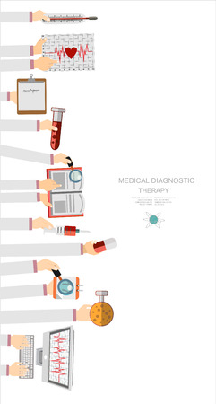 diagnostic: Vector illustration. Flat medical concept background. Healthcare and health protection. Clinical laboratory. First aid and diagnostic.