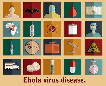 demography: Ebola virus flat style icons. Illustration