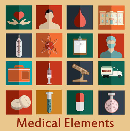 doctors with pills: flat medical icons Illustration