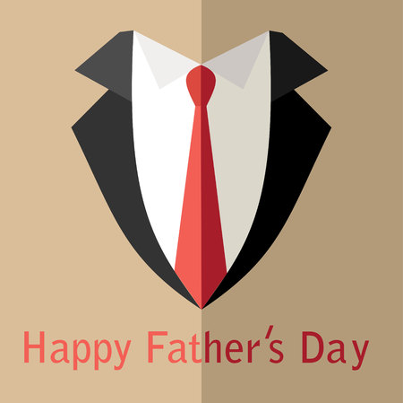 birthday suit: Fathers Day Poster with Tie. Flat Design. Vector Illustration. Illustration