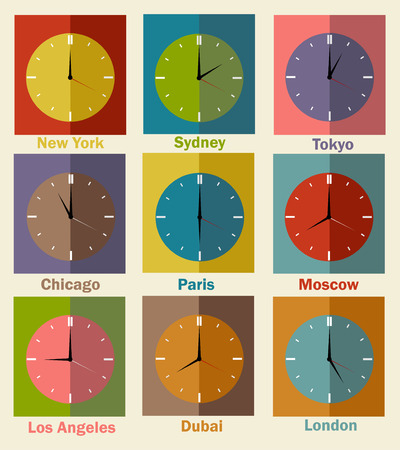 timezone: Vector flat icons. World clock, time difference in major cities Illustration
