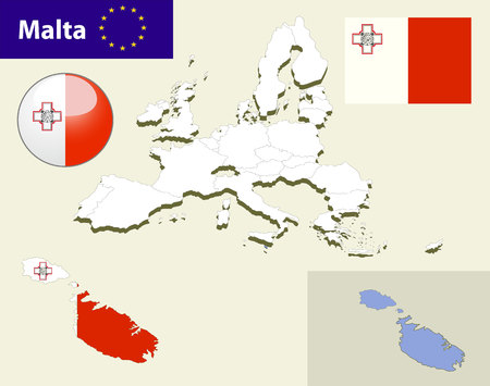 malta flag: Map of European Union countries, with every state easy selectable and editable. Malta. Vector - Malta Flag Glossy Button