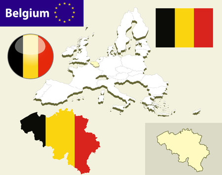 belgium: Map of European Union countries, with every state easy selectable and editable. Belgium. Vector - Belgium Flag Glossy Button