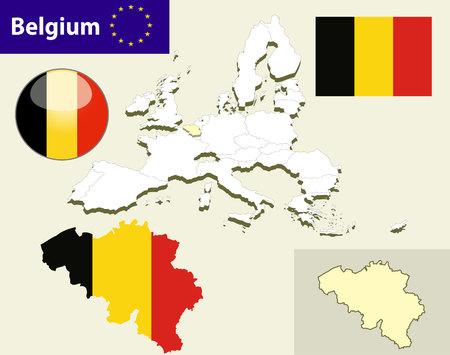 bandera de suecia: Mapa de países de la Unión Europea, con cada estado seleccionable fácil y editables. Bélgica. Vector - Bélgica Bandera brillante botón Vectores