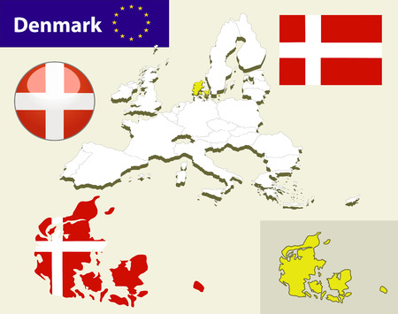 denmark flag: Map of European Union countries, with every state easy selectable and editable. Denmark. Vector - Denmark Flag Glossy Button
