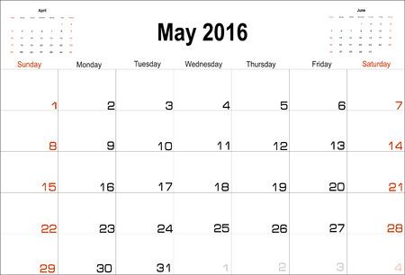 planning calendar: Vector planning calendar May 2016