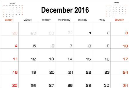 agenda year planner: Vector planning calendar December 2016