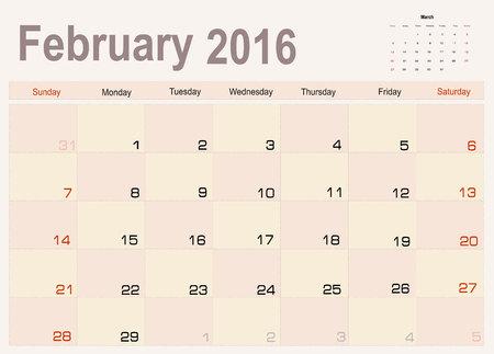 planning calendar: Vector planning calendar February 2016