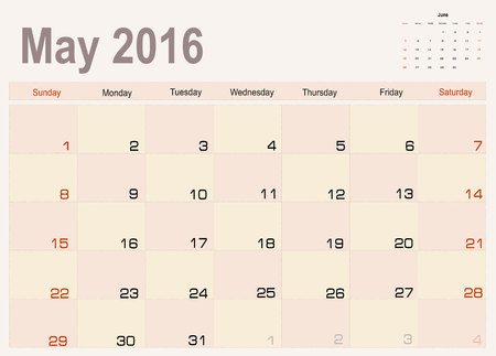 agenda year planner: Vector planning calendar May 2016