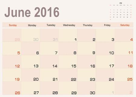 scheduler: Vector planning calendar June 2016
