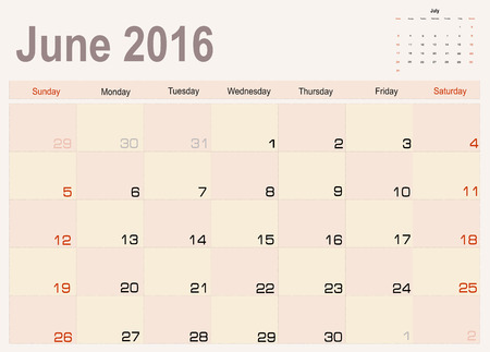 agenda year planner: Vector planning calendar June 2016
