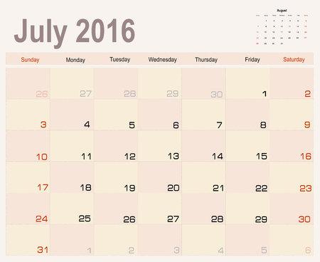 planning calendar: Vector planning calendar July 2016
