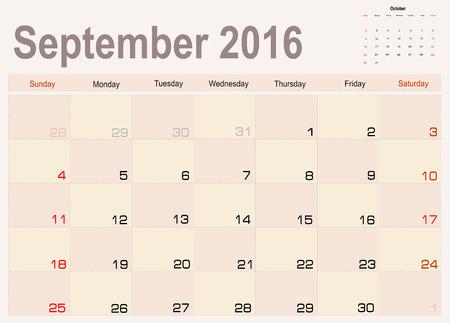 calendar september: Vector planning calendar September 2016